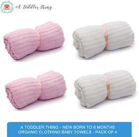 A Toddler Thing - New Born to 6 months Organic Clothing Baby Towels - Pack of 4