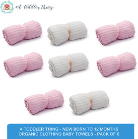 A Toddler Thing - New Born to 12 months Organic Clothing Baby Towels - Pack of 8