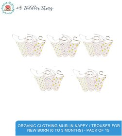 A Toddler Thing - Organic Clothing Muslin Nappy for New Born (0 to 3 months) - Pack of 15