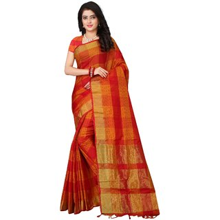 OSLC Women's Red Checks Banarasi Silk Saree With Blouse Piece