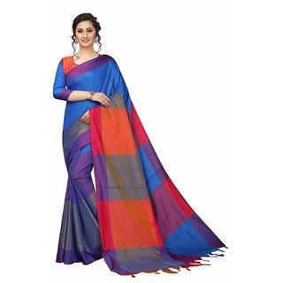 OSLC Women's Blue Checks Banarasi Silk Saree With Blouse Piece