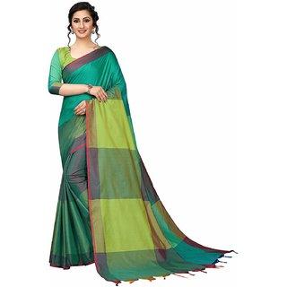 OSLC Women's Green Checks Banarasi Silk Saree With Blouse Piece