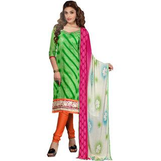 Vkaran Green Cotton Embroidered Unstitched Salwar Suit