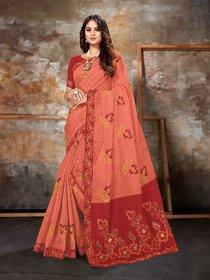 Sutram Pink Chanderi Cotton Embroidery Saree with Unstitch Blouse Piece