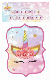 Hippity Hop Happy Birthday Unicorn Theme Bunting Flag / Banner For Happy Birthday Party Event Celebration And Birthday Decoration(Unicorn Birthday Banner)