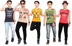 Kavin's Cotton Trendy T-Shirt for boys, Pack of 5, Multicolored, Combo Pack - Logan