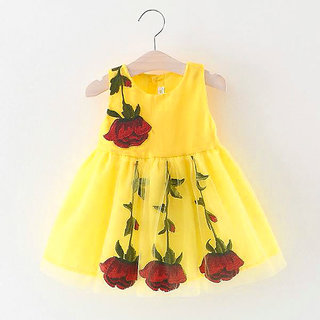 Clobay Sleeveless flower embroidery frock for girls