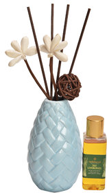 redolance scented reed diffuser lemongrass oil 50ml ceremic pot blue colour LBH (INC) 2.5X2.5X4.2 for home, office and s