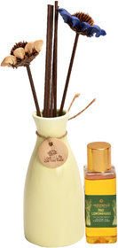 redolance scented reed diffuser LEMONGRASS oil 50ml ceremic pot yello colour LBH (INC) 2.5X2.5X5 for home, office and sp