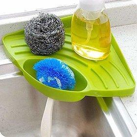 Kitchen Sink Corner Tool with Tray Storage Organizer Rack for Soap Dish Wash Basin