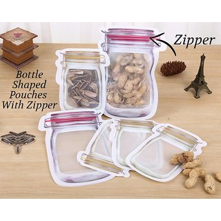 Plastics Transparent Jar Shaped Stand-up Pouch With Zipper (Size - 1000ml / 500ml / 150ml)