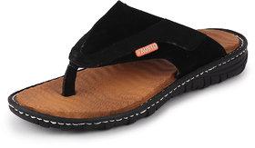Fausto Men's Black Casual Slip On Indoor & Outdoor Slippers