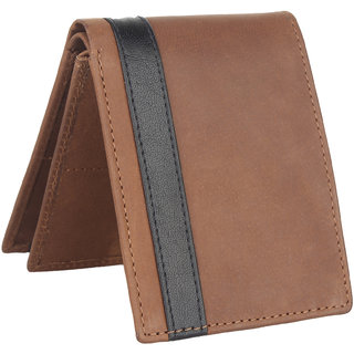 Men Brown Genuine Leather RFID Wallet 13 Card Slot 2 Note Compartment
