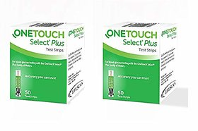OneTouch Select Plus Strips, 50 Count (Pack of 2, Green)