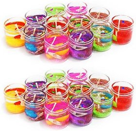 homedecor anurudh Glass Scented Gel Candle for Home, Office, Diwali Decoration- 24 Piece, 2.5 cm Multi
