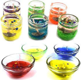 homedecor anurudh Set of 6 Cute Little Glass Gel Candles with 4 pcs Gel Bowl for Diwali and Christmas Decor - Multi Colo