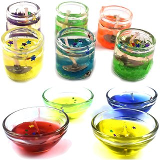 homedecor anurudh Set of 6 Cute Little Glass Gel Candles with 4 pcs Gel Bowl for Diwali and Christmas Decor - Multi Color