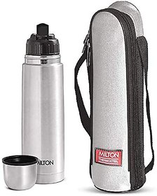 Milton Flip Lid 1000 Thermosteel 24 Hours Hot And Cold Water Bottle 1000 Ml - Silver