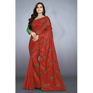 Meia Paper Silk Embroidred Sarees With Blouse Piece