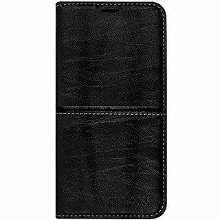 GADGETWORLD Luxury Leather Magnetic Flip Case for Lenovo K6 Power (Black)
