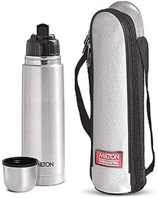 Milton Flip Lid 500 Thermosteel 24 Hours Hot And Cold Water Bottle With Bag 500 Ml Silver