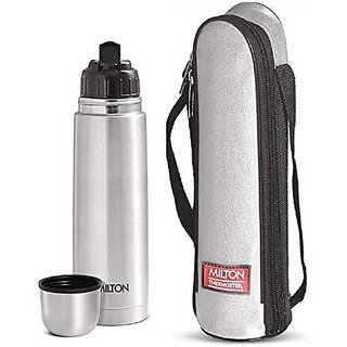 Milton Flip Lid 750 Thermosteel 24 Hours Hot And Cold Water Bottle With Bag 750 Ml Silver