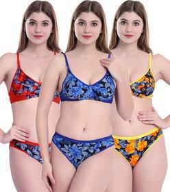 Fashion Comfortz Women Cotton Blend Bra Panty (Assorted Color)