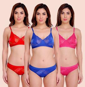 Women Cotton Bra Panty Set for Lingerie Set ( Color : Pink,Red,Blue ) ( Pack of 3 )