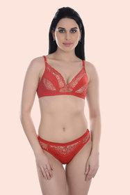 Fashion Comfortz Red Cotton Bra Panty Set ( Pack of 1 )