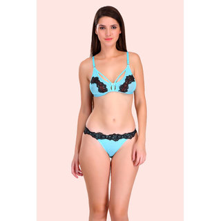 Women Cotton Bra Panty Set for Lingerie Set ( Color : Blue ) ( Pack of 1 )