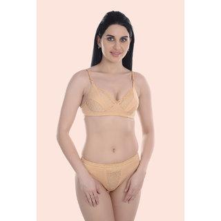 Women Cotton Bra Panty Set for Lingerie Set ( Color : Brown ) ( Pack of 1 )