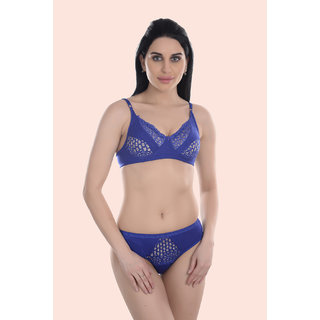 Fashion Comfortz Self Design Blue Cotton Lingerie Sets (Pack Of 1)
