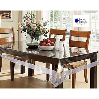 BLUE GRACE Transparent 4 Seater Dining/Center Table Cover with Silver Border, Size- 40 x 60.