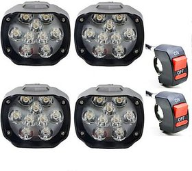 RA ACCESSORIES 9 LED Waterproof White 24W Fog Light for Bikes with on/off Handlebar Switch for Motorcycle, Jeep, SUV,