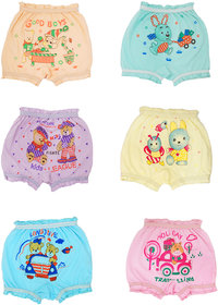 KesarLibas Organic Cotton Soft Kids Bloomers for Girls/Boys 0-12 Years Combo Pack of 6 Multicolored (Assorted Prints)