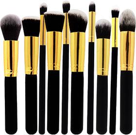 Adbeni Foundation, Eyeshadow  Blusher Makeup Brush Set (Black), MKPB101, Set of 10