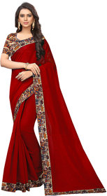Florence Maroon Chanderi Cotton Lace Saree with Blouse