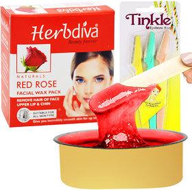 Herbdiva Katori Facial Wax Red Rose 80g With Eyebrow Razer,(101RZR), Pack of 2