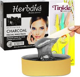 Herbdiva Katori Facial Wax Charcoal 80g With Eyebrow Razer, (101RZR), Pack of 2