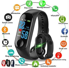 Smart Fitness M3 Bluetooth Heart Rate Monitor, Distance, Steps Count, Water Resistant Black Band