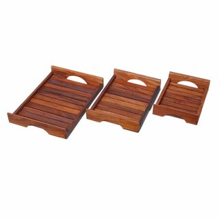National Handicrafts Wooden Tray Set of 3 Coffee Tray Water Tray Serving Tray Seesham Wood Set of Three