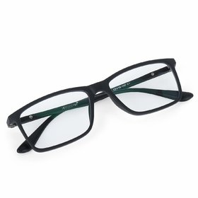 Intellilens Unisex Blue Cut Round Spectacles With Anti-glare for Eye Protection (Zero Power, Black)