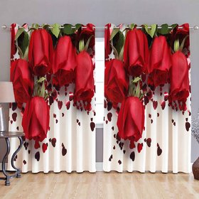THE HOME STYLE 3D Digital Print Curtain- Roses Pack (4 x 7 Feet Door Curtain, Set of 2)