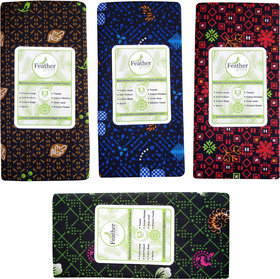 Feather Green  Printed Lungi Pack of 4 pcs