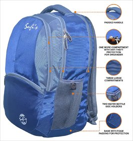 Sufi's Good Quality Navy Blue  Grey Backpack with Different Compartments