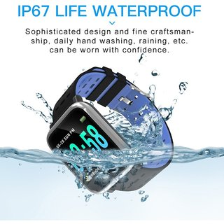 A6 Bluetooth Smart Wrist Watch with Health Monitoring Calls Texts for All Devices - BLUE