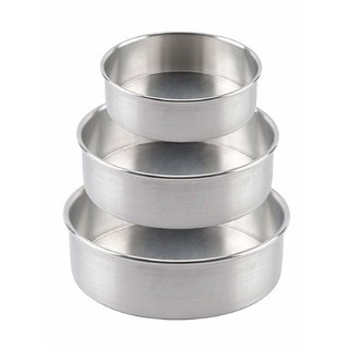 Ankur Silver Color Aluminium Cake Moulds/Tins (Set of 3)