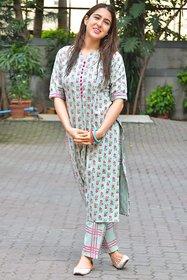 Dhruvi Women Cotton Printed Kurta with Palazzo Pant Set
