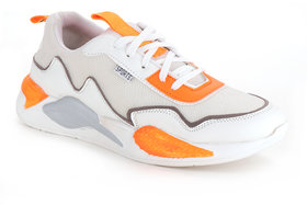 Men's White Orange White Casual Sport Shoes