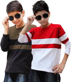 Lime cotton full sleeves t shirt for boys